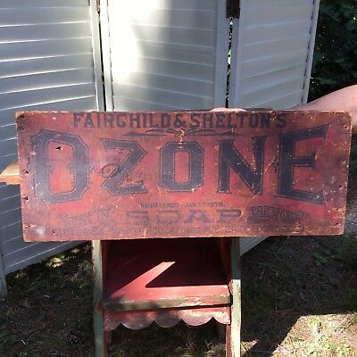 Vintage/Antique Ozone Soap Wood Crate Box Sign