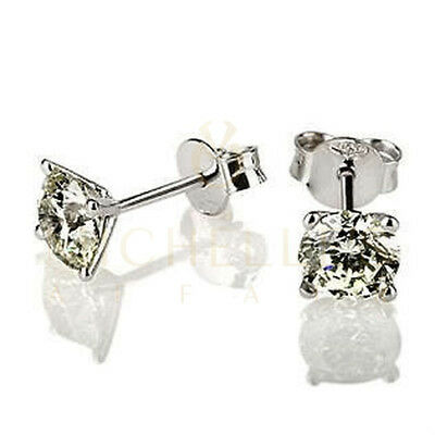 2.5 ct Solitaire Diamond Earrings H VVS Screw Back Enhanced 14K White Gold