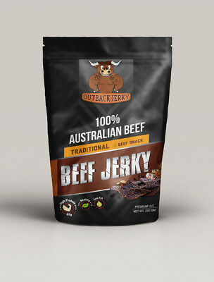 BEEF JERKY TRADITIONAL 200G Hi PROTEIN LOW CARBOHYDRATE PRESERVATIVE FREE SNACK