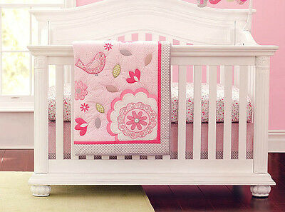Baby girls Pink Garden Nursery Bedding Set Crib Cot Sets Nursery Decor