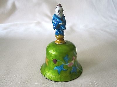 Antique China Enamel on Silver Metal Bell Robed Chinese Man Handle Hand Painted