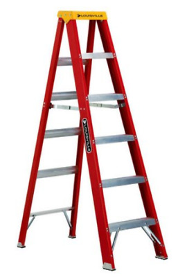 8 ft Foot Louisville Step Ladder Handyman Fiberglass 300lb Capacity Heavy Duty