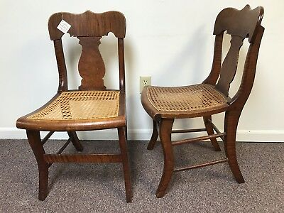 Pair of 19th Century Birdeye Tiger Maple Side Chairs W/ Caned Seat
