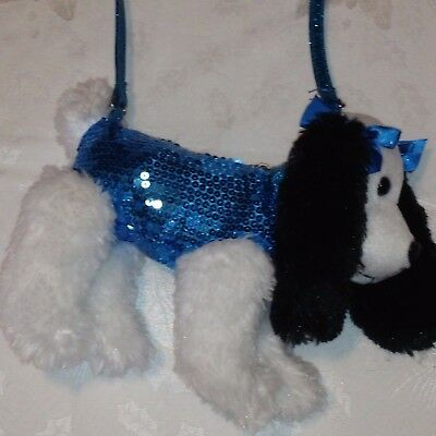 Poochie & Co. Black/White Puppy  Plush Zippered Purse with Blue Sequins