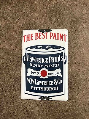 Vintage Lawrence Ready Mixed Paints Porcelain Advertising Door Push Plate Sign