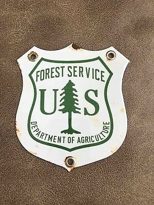 Vintage Forest Service U.S. Dept of Agriculture Porcelain Shield Sign