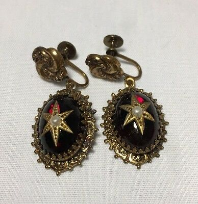 Antique / Vintage Red Glass Cabochon Screwback Earrings Faux Pearl Gold Tone
