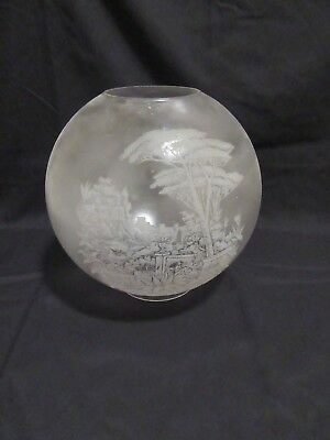Original Vintage Etched Ball  Lamp Shade with Trees and Garden