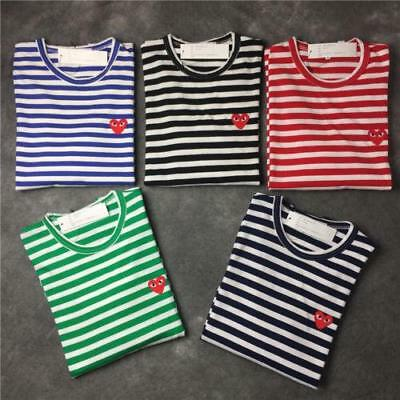 Women Mens COMME Des Garcons CDG PLAY Red Heart Striped Long Sleeve Tops T-shirt