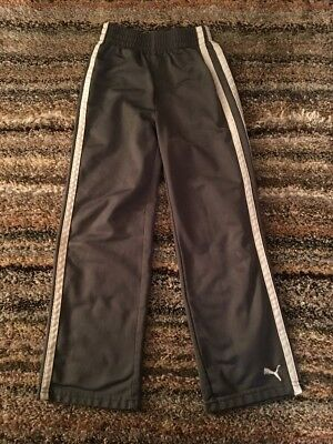 PUMA Sweat Pants Kids Size 7 Boy's Gray and White Jogging Youth Athletic Warm up
