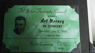 1950 art mooney and gene krupa fall frolics ticket stubs with provenance