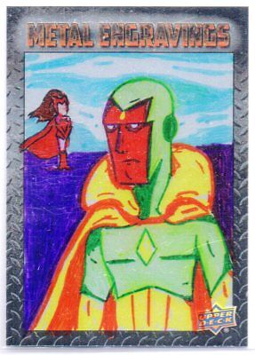 2015 Marvel Vibranium VISION Metal Engravings 1/1 SKETCH by JERRY FLEMING