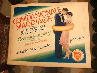 Companionate Marriage 1928 First National silent title lobby card Betty Bronson