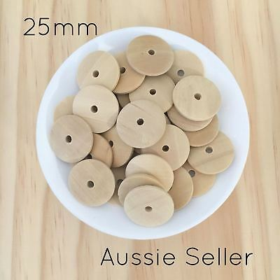 20x Natural Round Disc wood beads Saucer unfinished wooden teething timber DIY