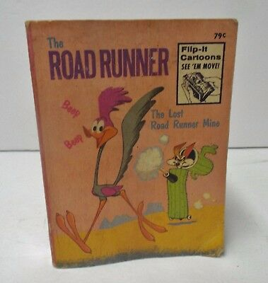 Vintage Whitman 1974 Flip-It A Big Little Book Cartoons Lost Road Runner Mine