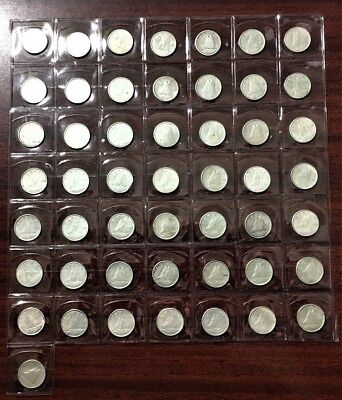 Lot Of 50 - 1940-1966 Silver Canadian/canada 10 Cent Coins 80 % Silver Coins #3