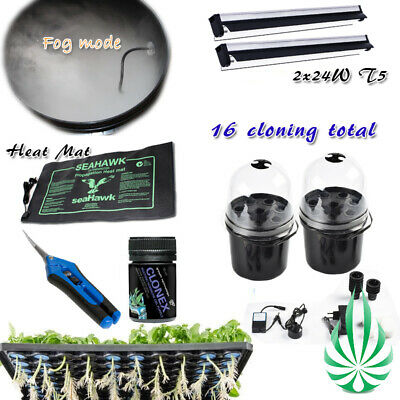 Hydroponics Cloning Station with Water Air Pump Clonex Gel Timer Trimmer LED