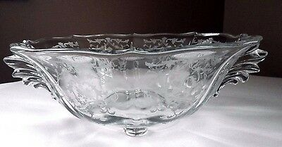 "Gorgeous Vintage,fostoria Glass, Baroque Large Bowl W/navarre Etching ""perfect"""
