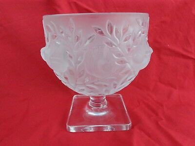 Lalique France Crystal ELIZABETH FOOTED VASE BOWL COMPOTE URN DISH BIRDS SPARROW