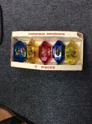 VINTAGE JEWEL BRITE DURABLE CHRISTMAS ORNAMENTS SET OF 5 In Box