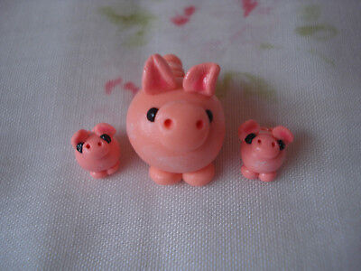 Miniature Handmade Trio of Polymer Clay Pig Figurines