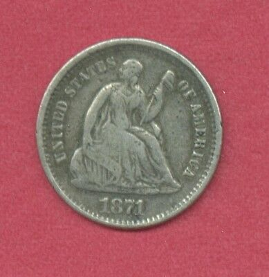 1871s Silver Half Dime   Seated Liberty Type   Free S&H