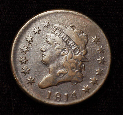 """1814 Classic Head Large cent plain 4 """"Bearded"""" variety High Grade Free S&H"""