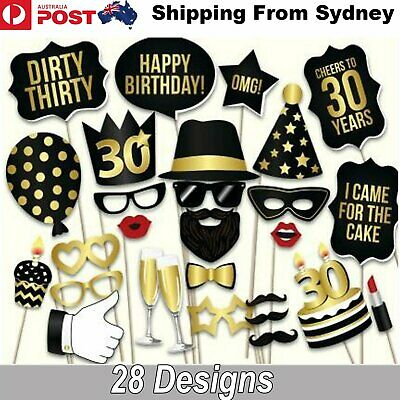 28PCS 30th Birthday Photo Booth Props Mustache Lip Stick Wedding Party Decoratio