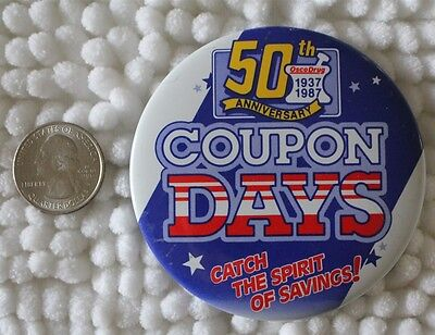 Osco Drug Stores 50th Anniversary 1987 Coupon Days Pin Pinback Button #23973
