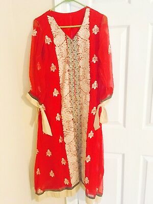 Embroided suit-  bought thread n motiz   Unstitched size  M Indian/ Pakistani