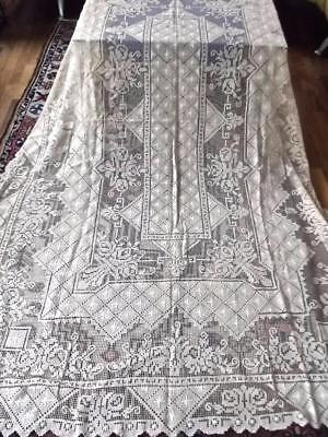 Antique Italian Hand Knotted Net Darned Filet Lace 66x102 Tablecloth Deco Urns