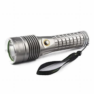Tactical XM-L T6 LED Flashlight Powerful 10000LM Silver Waterproof Torch Lamp F1