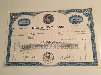 Sheffield Watch Corp. Stock Certificate 100 Shares 1967