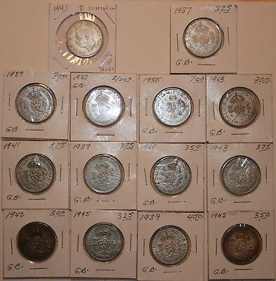 Great Britain  2 Schillings Florin  lot of 14 coins   (.500Silver)     #1818GB