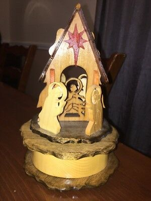 """Handcrafted Christmas Nativity Music Box """"O Holy Night"""" One Of A Kind"""