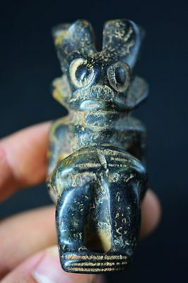 Chinese hongshan Culture Magnet Jade stone Carved *Sun god* Amulet Statue C31