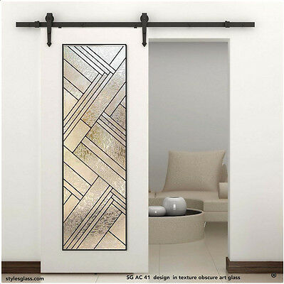 Stained Glass Barn interior Door with hardware ( SG AC 41 design )
