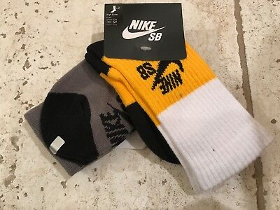 2 pair NIKE SB Youth High Crew Athletic Skate Socks Gray Yellow Shoe Size 5Y-7Y