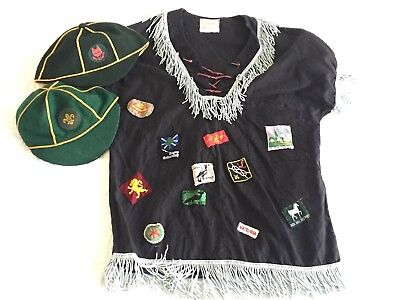 Vintage BOY SCOUT CAMP SHIRT with SEWN on BADGES & 2 SCOUT CAPS