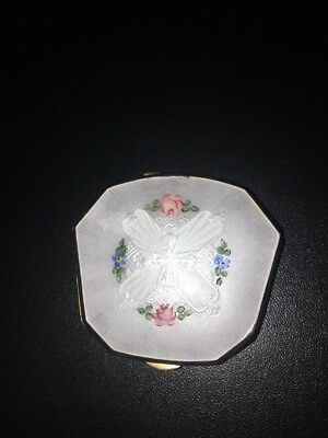 Vintage LaMode Floral Enamel Guilloche Powder Compact And Mirror