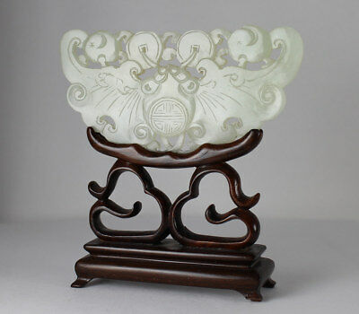 19C CHINESE CARVED CELADON JADE CHIME PLAQUE on CARVED WOOD STAND
