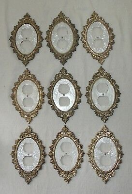 VINTAGE 9 PCs. RARE BRASS W/MOTHER OF PEARL OUTLET COVERS  C S A PEARL MAID
