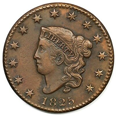 1825 Coronet Head Large Cent Coin 1c