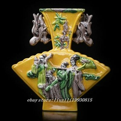 Chinese Porcelain Hand-carved the Eight Immortals Ssangyong Vase