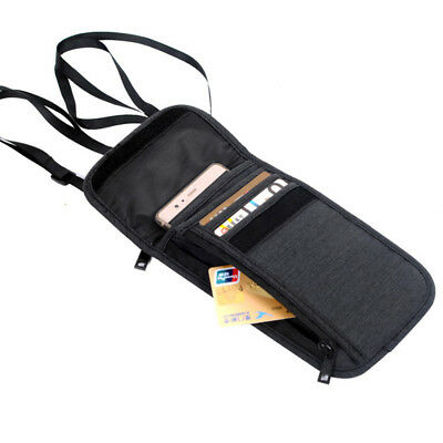 Travel Security RFID Blocking Wallet Passport Neck Pouch Phone Money Card Holder