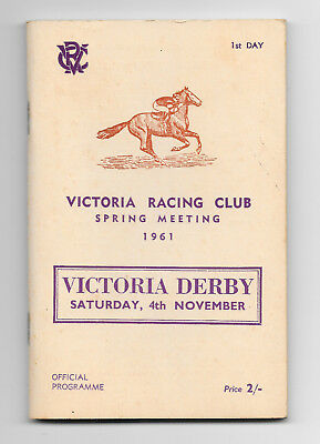 1961 Victoria Derby Official Programme (Horse Racing)