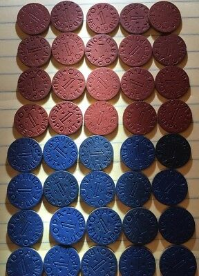 Lot of 40 Vintage Red & Blue Point OPA WWII Ration Tokens 20 Each