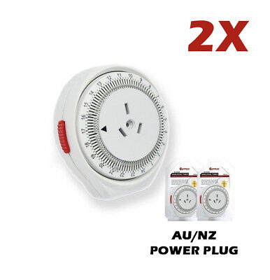 2x Easy-to-Set Programmable Timer Switch with Auto ON&OFF 24h Powerpoint 240v