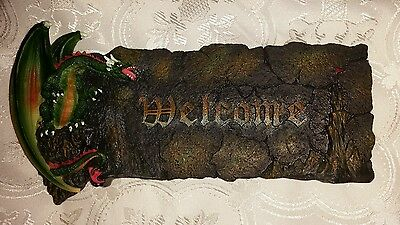 Gothic Dragon Welcome Sign Wall Hanger.  Mythical Creature Collectible