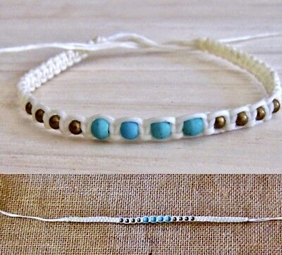 ANKLET TURQUOISE STONE BEADS WHITE COTTON CORD BAND mens womens beach surfer new